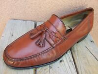 SANTONI Womens Soft Leather Cognac Italian Tassel Loafer Casual Flats Size 10.5D