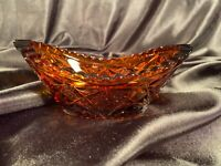 EUC VINTAGE AMBER CLEAR PRESSED GLASS OVAL CANOE RELISH DISH SERVING BOWL