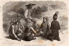 FAMILLE SAUVAGE NATIVE COSTUMES COSTUMS VIETNAM INDOCHINE IMAGE 1872 ENGRAVING