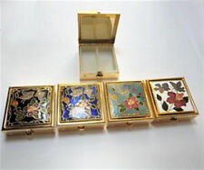 "Cloisonne Enamel Square Pill Box 1 1/2"" with plastic insert (1) Vintage 1980's"