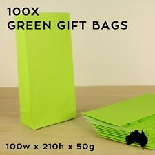 100 X  LIME GREEN Paper LOLLY LOOT BAGS Small Craft Flat Party Wedding GIFT BAG