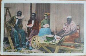 BLACK AMERICANA RPPC, Dinner Time in Dixie Land, Men & Women Eating Watermelon