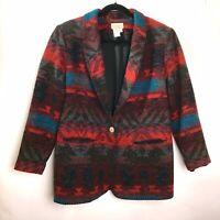 Coldwater Creek Blazer Jacket Women's Sz M Southwest Aztec Wool Blend Coat