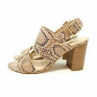 Primark Brown Beige Animal / Snake Print Strappy Shoes Block Heels UK 4 EU 37