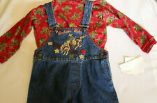 Western Vintage Embroidered Outfit Overalls + Shirt Boy or Girl 4 T