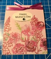 Mother's Day Card A Garden Of Flowers Tied With Lavender/pink RibbonHandmade