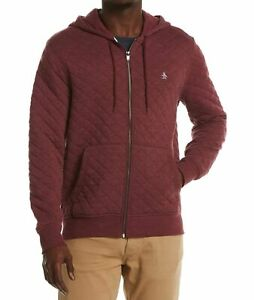 Original Penguin Mens Sweater Red Size XL Full Zip Hooded Quilted $98 082
