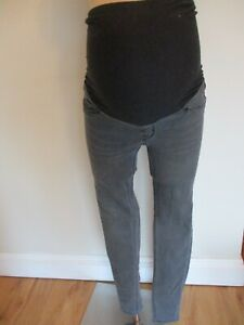 H&M MAMA MATERNITY GREY OVER BUMP SUPER SKINNY JEGGINGS JEANS SIZE 10