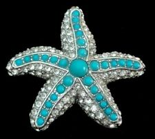 STARFISH Figural Pin/Pendant~Pave' Crystals & Faux Turquoise Cabochons,FJT