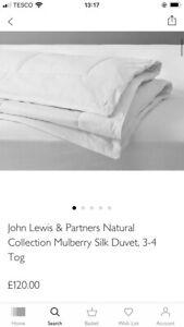 BNIB John Lewis Natural Collection Mulberry Silk/King/RRP£120