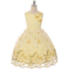 YELLOW Butterfly Flower Girl Dress Prom Dance Wedding Birthday Party Bridesmaid