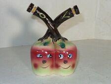 Vintage Japan Ceramic Tall Apple Face Oil & Vinegar Anthropomorphic