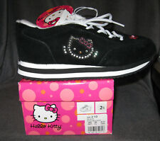 Hello Kitty Black Sneaker Shoes w/ Rhinestone Details Girls 2 1/2 NEW w/ Box