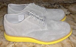 COLE HAAN Grand Oxford Grey Suede Yellow Sole Dress Sneakers Shoes NEW Boys Sz 1