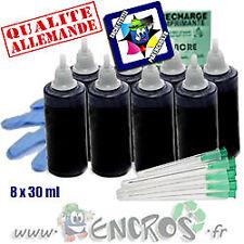 Recharge Kit Encre 8x30ML Couleur BLACK universelle pour HP