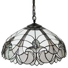 Amora Lighting  2-Light Tiffany Style White Semi-Flushmount Hanging Lamp