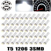 50x White T5 73 74 3SMD Wedge Led Instrument Panel Dash Gauge Light Bulbs