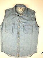 LEVI'S Mens Sleeveless Distressed Denim Vtg Shirt Size XL Blue