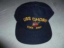 VINTAGE MILITARY NAVY HAT CAP SNAP BACK USS CHOSIN CG 65 NEW ERA PRO DESIGN USA