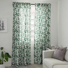 "Ikea ALPKLOVER ALPKLÖVER Curtains 2 Panels (1 pair) 57"" x 98"" White/Green Leaves"