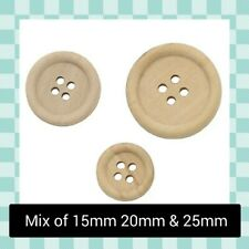 10 x 12mm Wooden 2 tone Round Plastic Buttons JST602