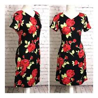 Vintage Laura Ashley Black Floral Print Shift Dress Size 12 Smart Casual