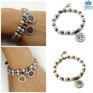 Bracciale da donna in acciaio inox sfere perline albero della vita braccialetto