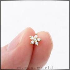6.2mm 5leaf Flower Clear CZ Surgical Steel Cartilage Helix Gold Piercing 16G