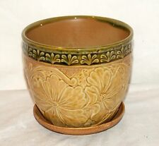 "New 4.75"" Ornate Tan & Green Hibiscus Flower Planter Plant Pot & Saucer"