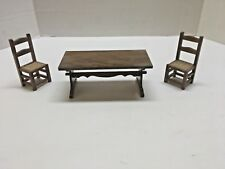 Dollhouse Furniture Trestle Table w/ 2 Ladder Back Cane Seat Chairs Wooden