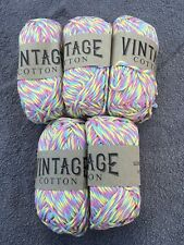 5 X 100g Aran Vintage Cotton Knitting Wool Yarn Colour Multi Colours