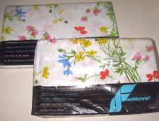 NIP Vintage Floral Lot of 2 TWIN Size Flat & LOW Fitted Bed Sheets Made in USA