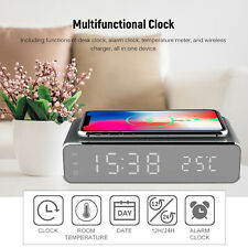 Wireless Charger Digital LED Desk Alarm Clock  ℃/ ℉ Thermometer with Calendar