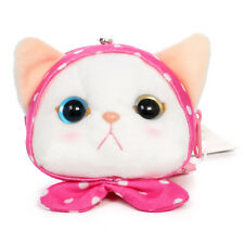 Jetoy Choo Choo Cat Pink Dot Scarf with Bow Coin Pouch with Mini Strap