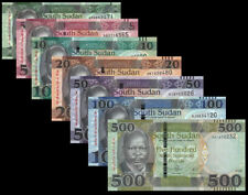 Full Set of 7Pcs South Sudan 1+5+10+20+50+100+500 Pounds,2011-2018,UNC