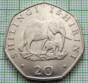 TANZANIA 1992 20 SHILINGI, AFRICAN ELEPHANT WITH CALF, UNC LUSTRE