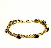 14k yellow gold sapphire xoxo tennis bracelet 7.5g estate vintage antique 7""