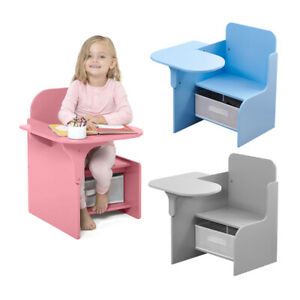 Children Chair Desk with Storage Bin 2 in 1 Study Table Chair with Fabric Drawer
