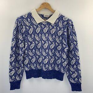 Currents Vintage Jumper Blue + White Knit Leaf Pattern Size Small Cottagecore