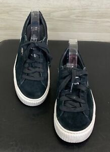PUMA Fenty size 36 black suede platform lace up creeper sneakers silver logo