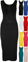New Womens Plain Scoop Sleeveless Ladies Stretch Jersey Long Maxi Dress 8 - 14