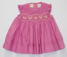 Carriage Boutiques Embroidered Flowers Smocked Ruffled Sleeve Pink Dress, 3 mos.
