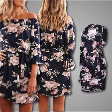 Summer Floral Off the Shoulder Beach Dress Long Butterfly Sleeve Navy Blue Dress