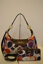 COACH ASHLEY HAND DRAWN SCARF PRINT CONVERTIBLE HOBO & MATCHING WALLET