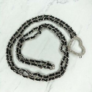 """Silver Tone Leather Woven Rhinestone Heart Belly Chain Belt One Size up to 41"""""""