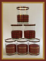 Vintage Culver Red & Green Tartan Plaid Glasses - Set Of 6 - RARE!