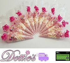 x20 Pre Filled Large Pink Sweet Gift Bags Cones  Party wedding favours Free P&P.