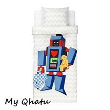 Ikea Lattjo Twin Duvet Cover pillowcase Childrens Kids Room Robot, light gray