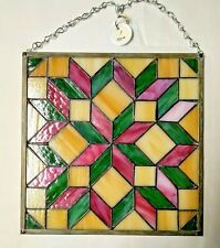Stained Glass Pink and Green Quilt Block Window Panel