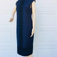 TED BAKER SZ 2 US 6 Black Lace Midnight Blue Wool Sheath Dress Pockets  NEW